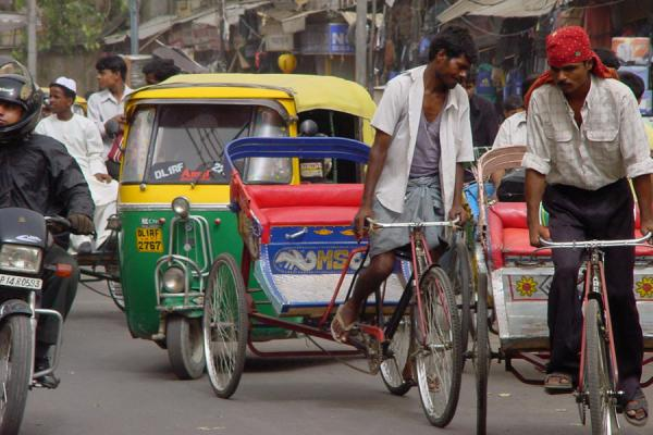 Picture of Chandni Chowk (India): Cyclist, motorcycles, rickshaws, New Delhi traffic