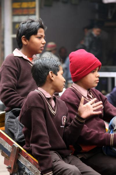 Three schoolkids in Chawi Bazaar | Chawri Bazaar | India