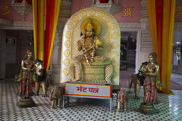 Hanuman surrounded by statues of animals and humans in front of a prayer hall in Chhatarpur temple | Chhatarpur Mandir | India