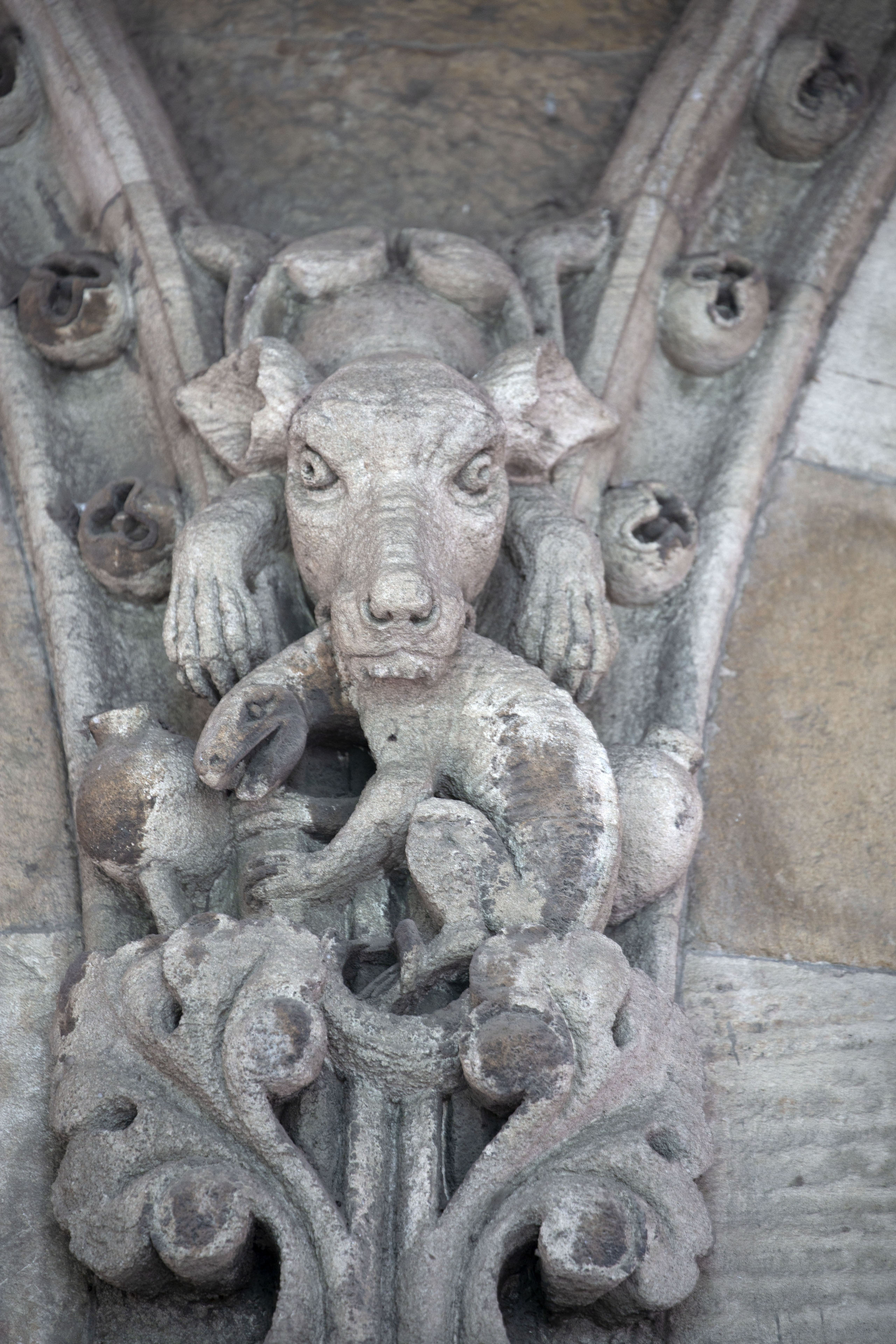 Close-up of sculpted animals on the facade of the terminus building | Chhatrapati Shivaji Terminus | 印度