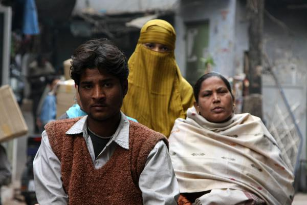 Picture of Cycle rickshaw riders (India): Indian women on the back of a rickshaw