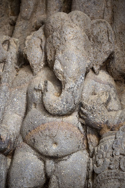 Close-up of Ganesh, sculpted at the side of Shiva Dancing | Elephanta grotten | India