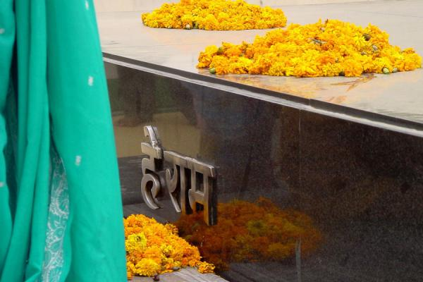 Flowers, sari and marble | Gandhi Memorial | India