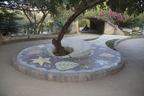 Mosaic with tree | Garden of Five Senses | India