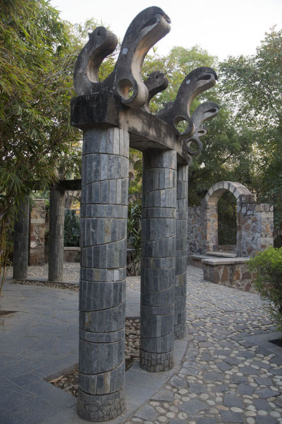 Picture of Stone columns decorating part of the Garden of Five Senses