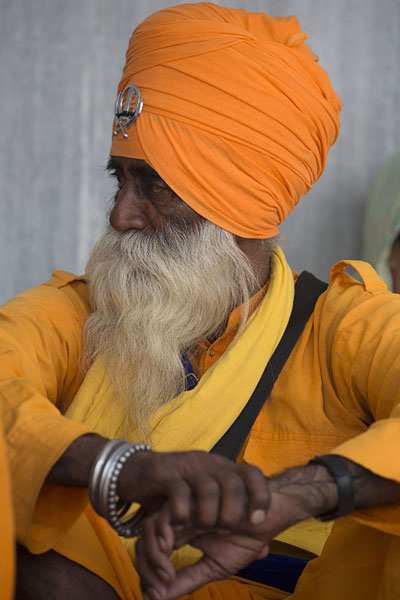 Sikh with orange cloths at the Gurudwara Bangla Sahib | Gurudwara Bangla Sahib | Inde