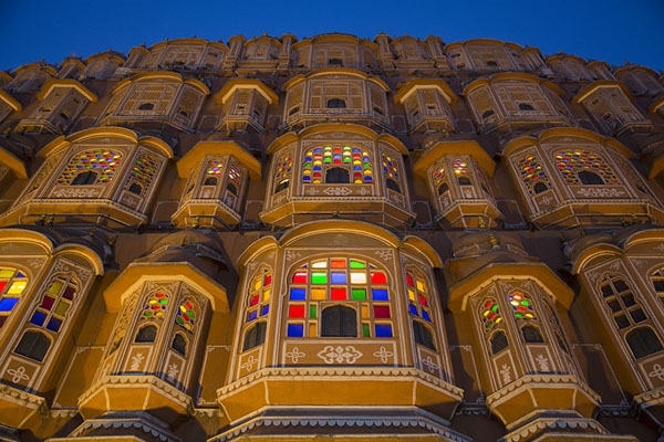 Picture of Evening time turns the façade of Hawa Mahal into a colourful fairy-tale like palace - India - Asia