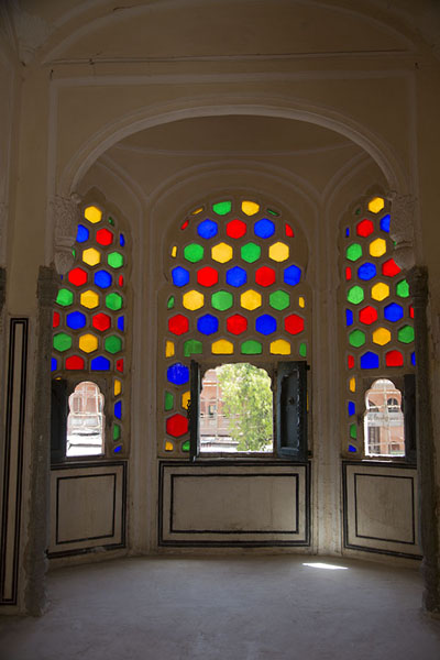 Daylight filters through coloured glass in one of the many rooms of Hawa Mahal | Hawa Mahal | India