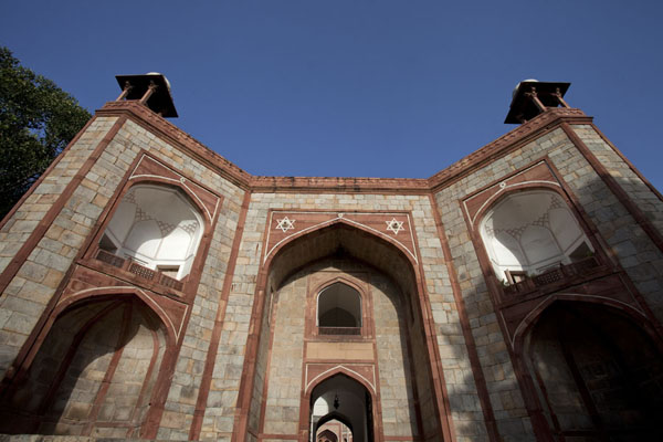 Looking up the arched gateway to Humayun's tomb | Humayun Tomb | India