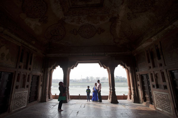 Picture of View across the Yamuna river from a building at the far west side of the gardens of the mausoleuAgra - India