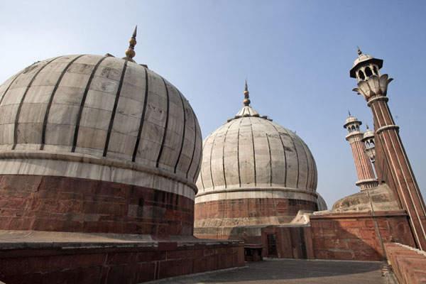 Foto van India (Domes and minarets on top of the mosque of Jama Masjid)