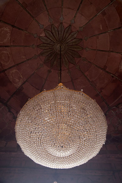 Ornamental lamp hanging from the ceiling of the mosque | Jama Masjid | India