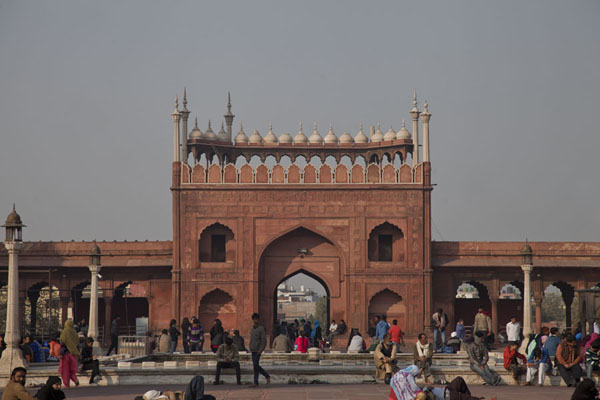 Picture of View across the courtyard of Jama Masjid with the eastern exit at the far end