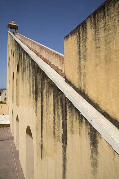 Looking up the gnomon of Samrat Yantra, the ramp pointing directly at the North Pole | Jantar Mantar | India