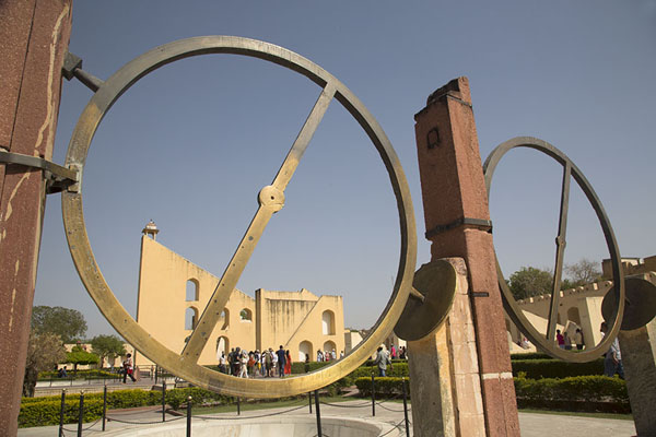 The metal circles of Chakra Yantra, used to find the right ascension and declination of a planet or other celestial body | Jantar Mantar | India