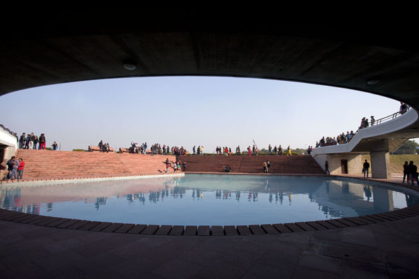 View across one of the pools from ground level | Lotus Temple | India