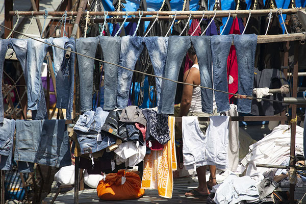 Foto di Jeans hanging to dry on Dhobi GhatMumbai - India