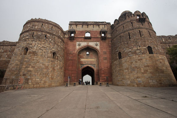 Exterior view of Bada Darwaza, the western gate of Purana Qila and main entrance | Purana Qila | India