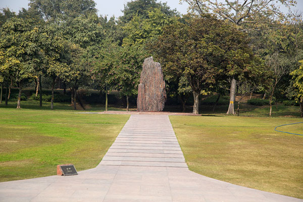 Monolith at the site where Indira Gandhi was cremated | Raj Ghat memorials | India
