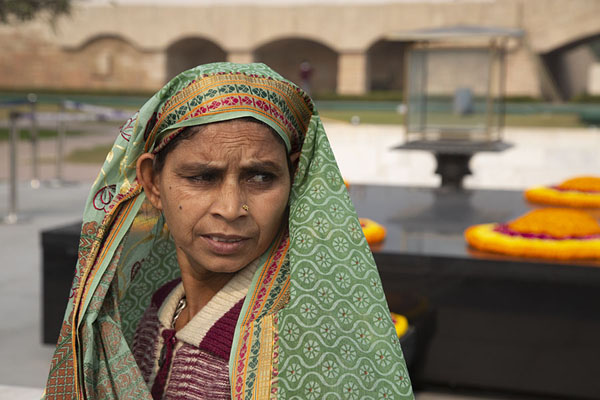 Indian lady in front of the memorial of Mahatma Gandhi | Raj Ghat memorials | India