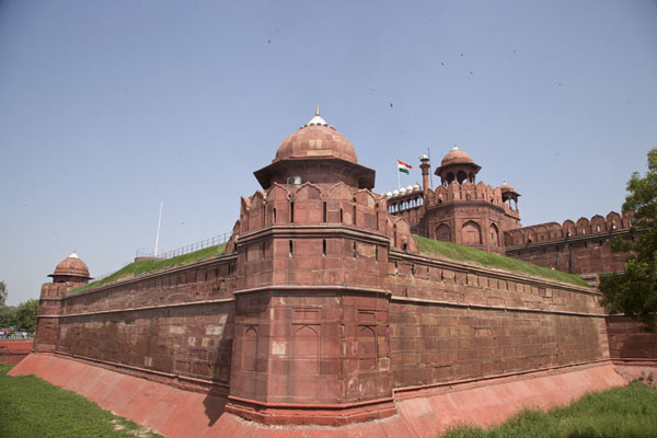View of the Red Fort from the outside at Lahore Gate德里 - 印度