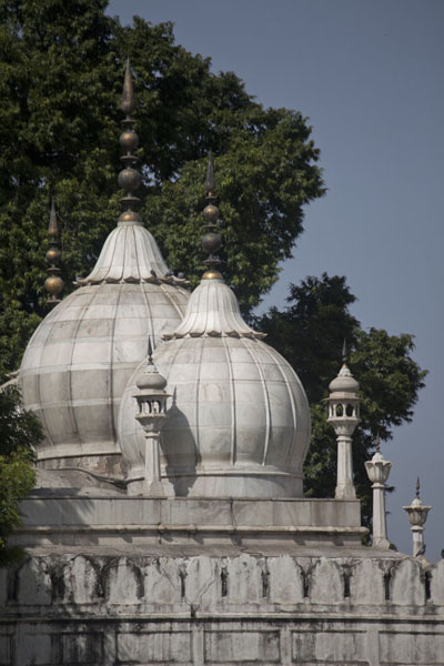 The domes and turrets of the Moti Masjid, the Pearl Mosque inside the Red Fort | Fort rouge | India