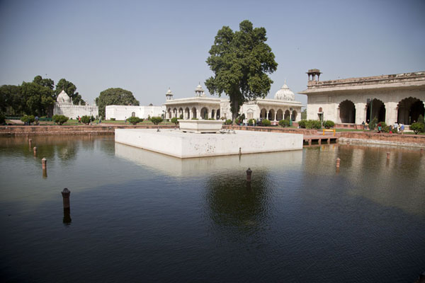 The square pool with several of the buildings in the background | Red Fort | India