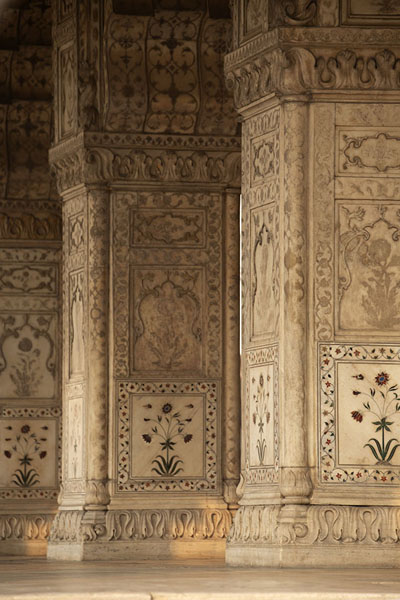 Richly decorated marble pillars in Diwan-i-Khas | Forte rosso | India