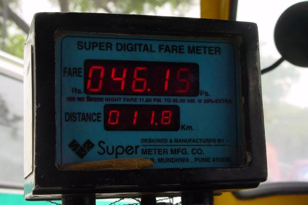 Picture of Delhi rickshaws (India): Digital fare meter for rickshaw, New Delhi