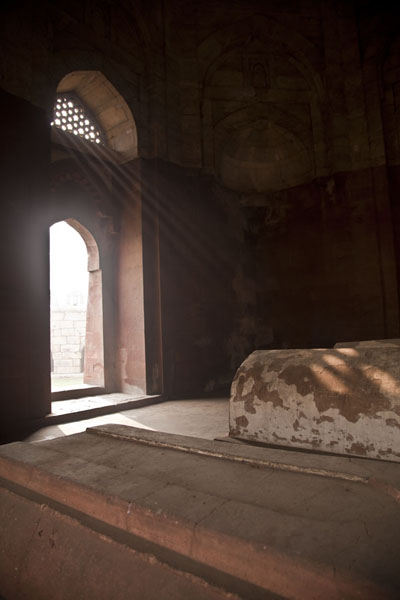 Light filtering into the mausoleum of Ghiyath al-Din | Tughlaqabad Fort | India