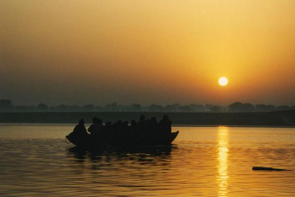 Sunrise over the River Ganges with boat | Varanasi | India