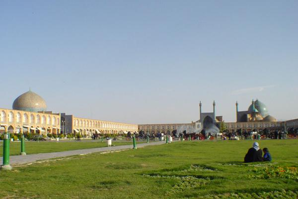 Having a rest in the grass with a view | Emam Khomeini Square | Iran