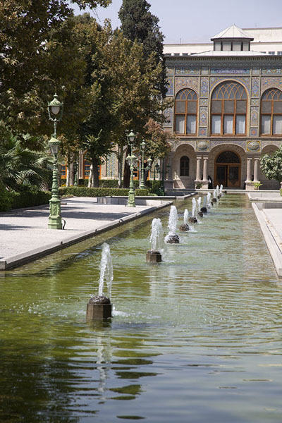 Picture of Reflecting pool with one of the buildings of Golestan Palace in the background - Iran - Asia