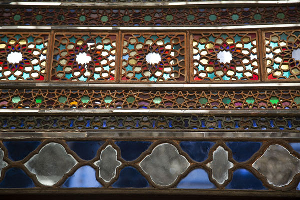 Stained glass and mirrors in the Takht-e Marmar | Golestan Palace | Iran