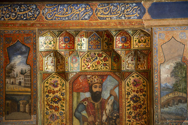 Close-up of painting in a hall adjacent to the Takht-e Marmar | Palais du Golestan | Iran