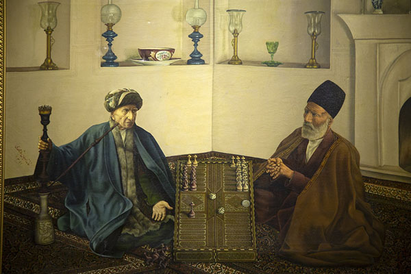Painting of two men playing backgammon in Negar Khaneh | Palacio de Golestán | Irán