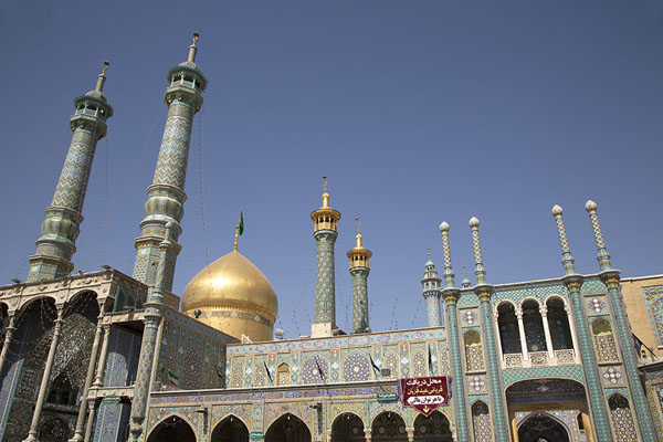 View of the golden dome, minarets and slender towers from one of the courtyards | Hazrat-e Masumeh | Iran