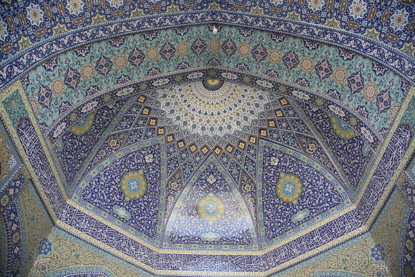 Foto di The dazzling tilework decorations of one of the vaulted domesQom - Iran