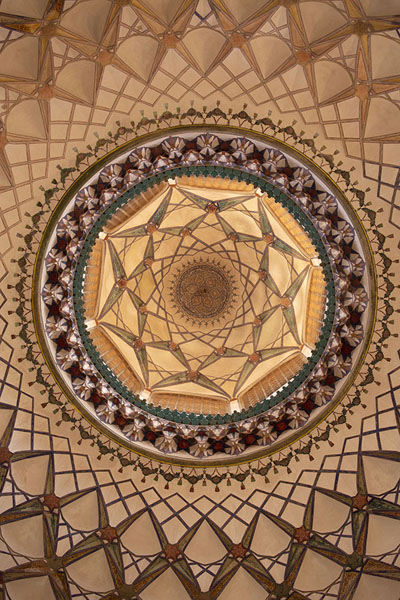 Foto van Close-up of the ceiling of the reception hall of Khan-e BorujerdiKashan - Iran