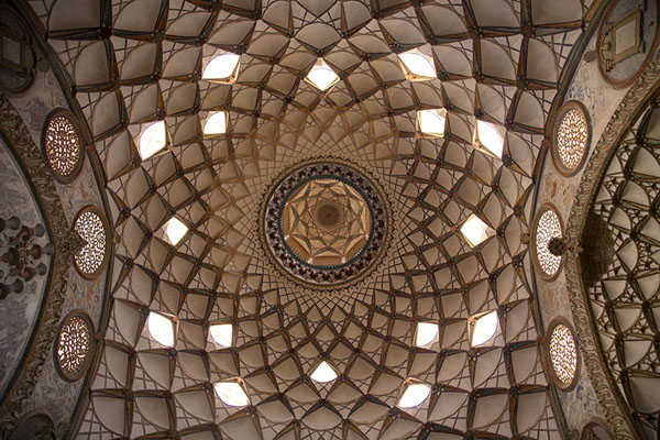 Looking up the ceiling of the reception hall of Khan-e Borujerdi | Khan-e Borujerdi | Iran