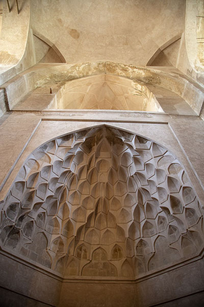 Looking up the honeycomb-like vault in a wall of the mausoleum | Oljeitu Mausoleum | 伊朗