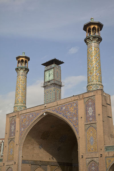 Foto van Mosque with slender minarets inside the bazarTeheran - Iran