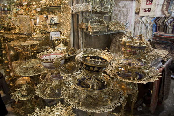 Brassware for sale in the bazar | Tehran Bazaar | Iran