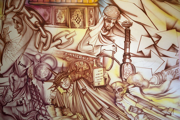 Close-up of the wall paintings in the staircase inside the former embassy | US Den of Espionage | Irán