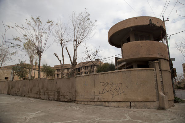 Corner of Amna Suraka prison with watchtower | Amna Suraka prison | Iraq