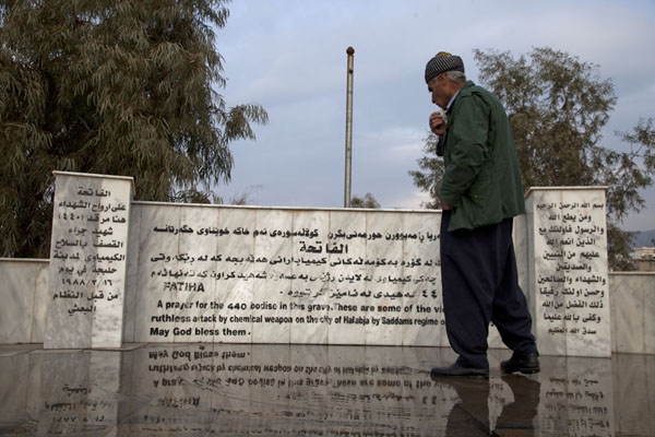Picture of Kurdish guide in front of one of the mass graves in Halabja