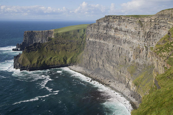 Picture of The northern Cliffs of Moher rising steeply from a rocky beach - Ireland - Europe