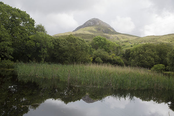 Foto van View of Diamond Hill with small lake in the foregroundConnemara - Ierland