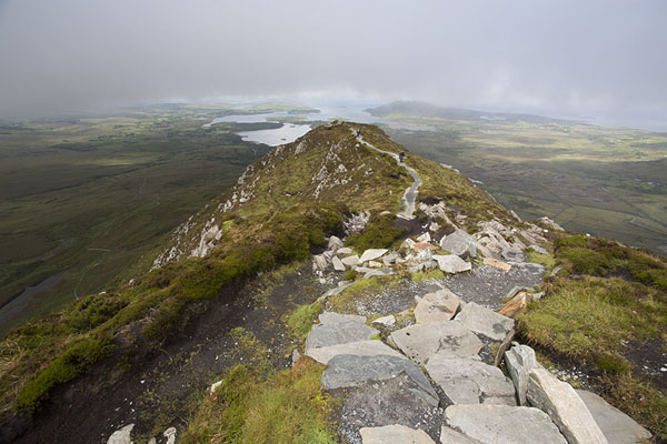 Picture of Connemara National Park (Ireland): Panoramic view from the top of Diamond Hill with Ballinakill Harbour in the background