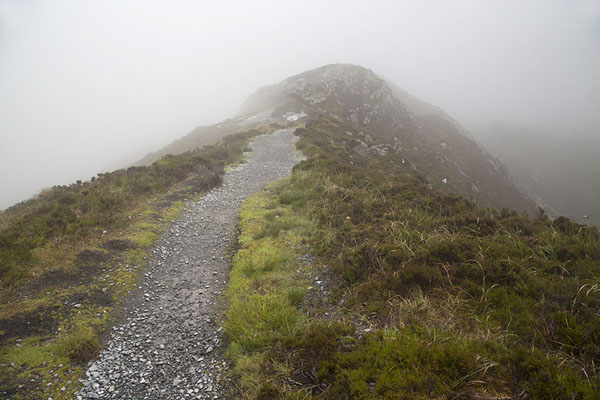 Picture of The top of Diamond Hill partly hidden by the cloudsConnemara - Ireland